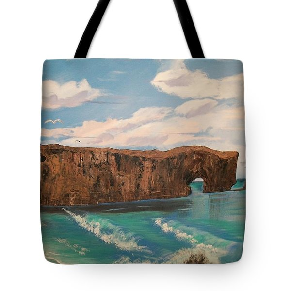 Tote Bag featuring the painting Perce Rock by Sharon Duguay