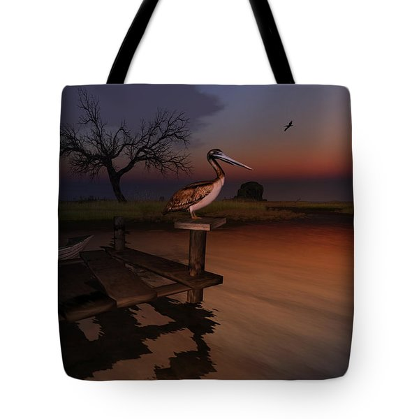 Tote Bag featuring the digital art Perch With A View by Kylie Sabra