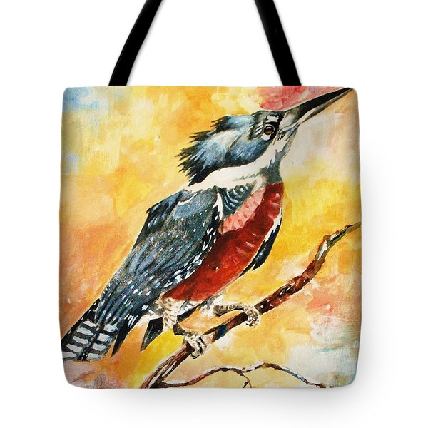 Perched Kingfisher Tote Bag by Al Brown