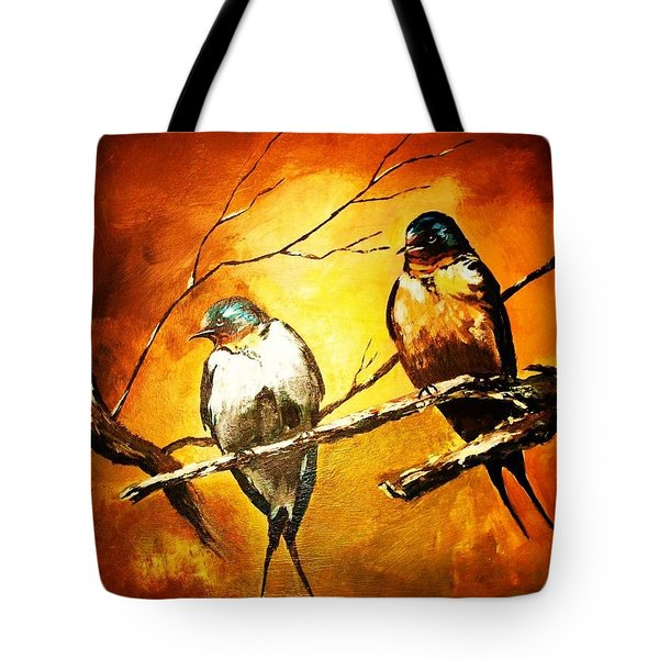 Perched Swallows Tote Bag