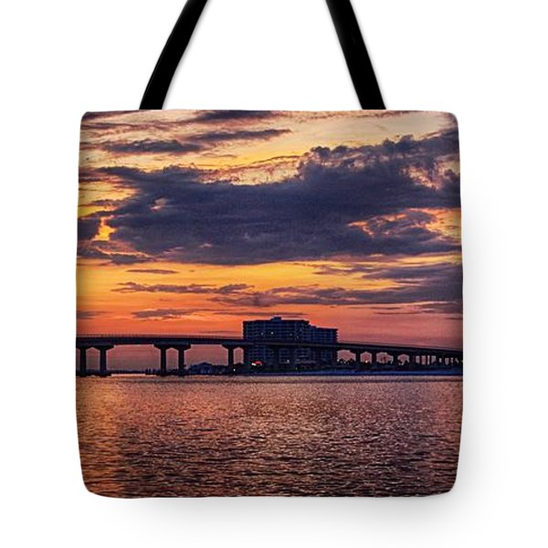 Tote Bag featuring the digital art Perdido Bridge Sunrise by Michael Thomas