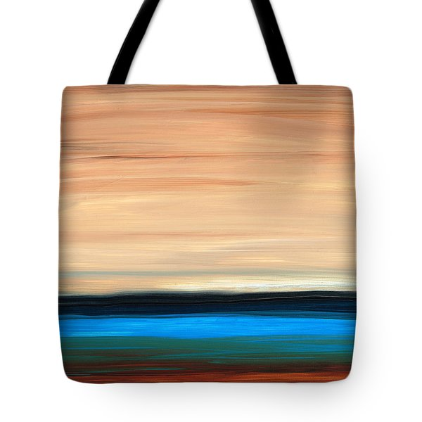 Perfect Calm - Abstract Earth Tone Landscape Blue Tote Bag by Sharon Cummings
