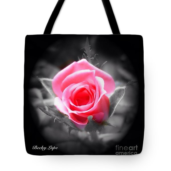 Perfect Rosebud In Black Tote Bag