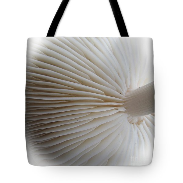 Perfect Round White Mushroom Tote Bag by Tina M Wenger