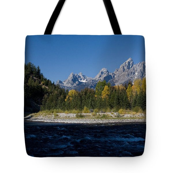 Perfect Spot For Fishing With Grand Teton Vista Tote Bag by Karen Lee Ensley