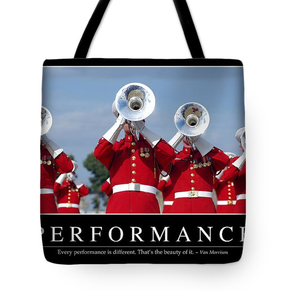 Performance Inspirational Quote Tote Bag by Stocktrek Images