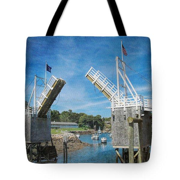 Perkins Cove Drawbridge Textured Tote Bag