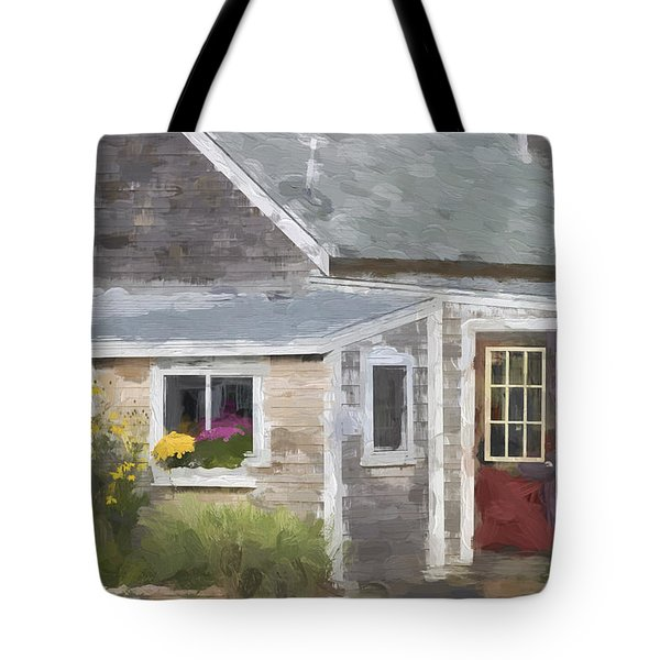 Perkins Cove Maine Painterly Effect Tote Bag