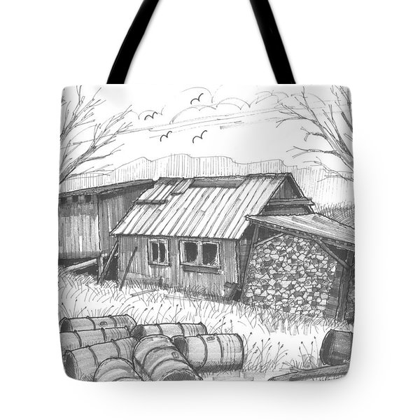 Tote Bag featuring the drawing Perkins Maple Sugar House by Richard Wambach