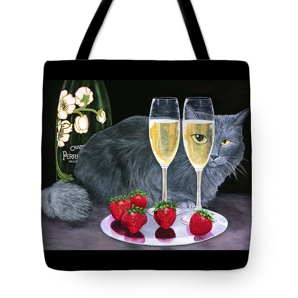 Tote Bag featuring the painting Perrier Jouet Et Le Chat by Karen Zuk Rosenblatt
