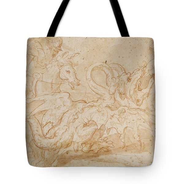 Perseus Rescuing Andromeda Red Chalk On Paper Tote Bag by or Zuccaro, Federico Zuccari