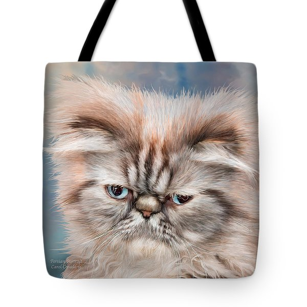Tote Bag featuring the mixed media Persian Portrait by Carol Cavalaris