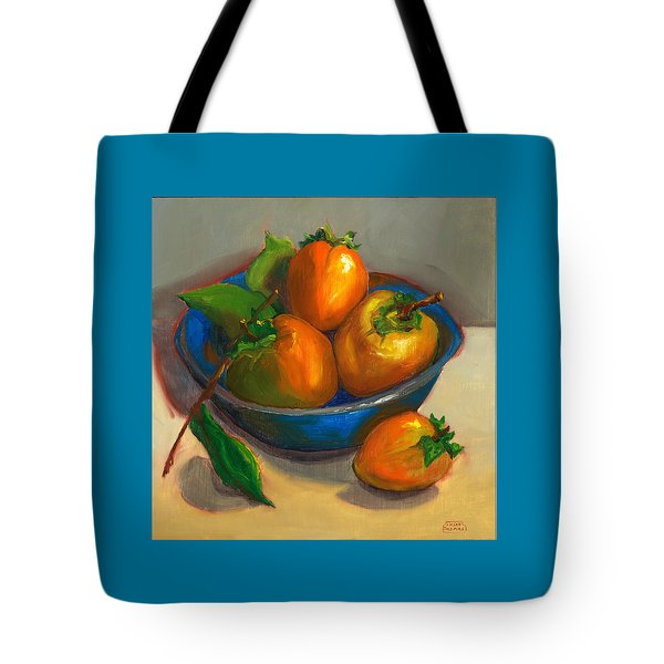 Persimmons In Blue Bowl Tote Bag