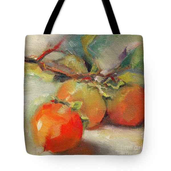 Tote Bag featuring the painting Persimmons by Michelle Abrams