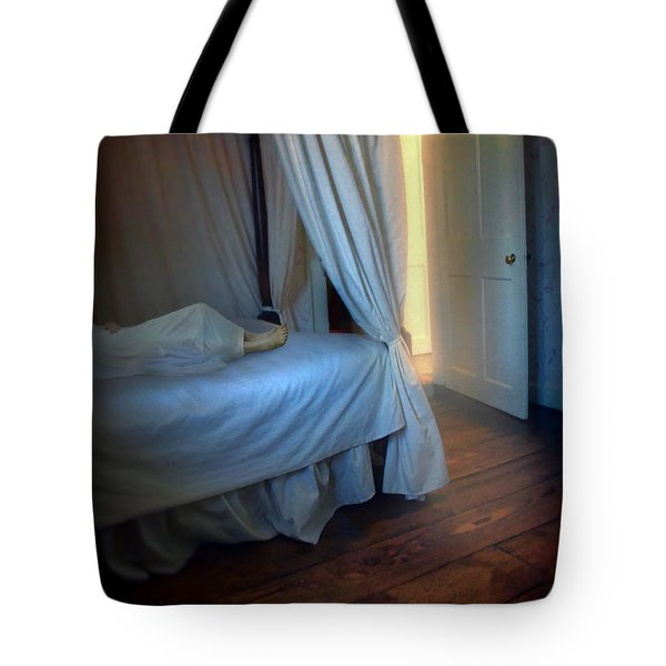 Person In Bed Tote Bag