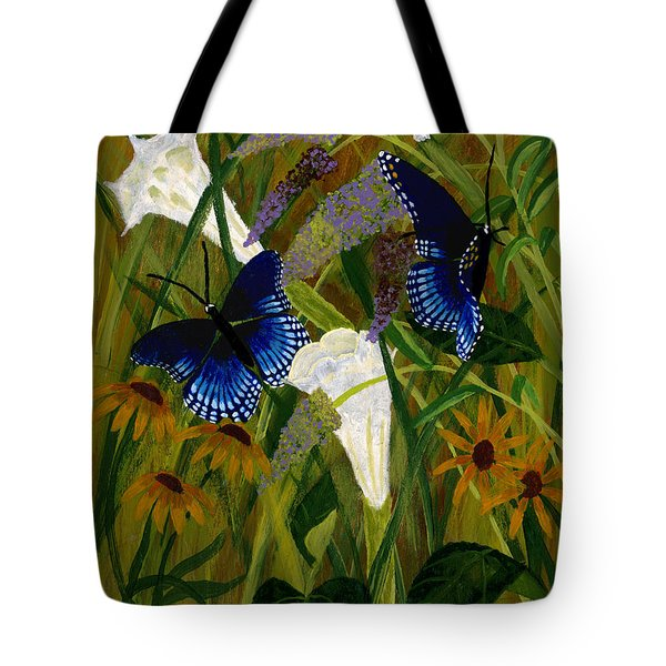 Perusing The Flowers Tote Bag