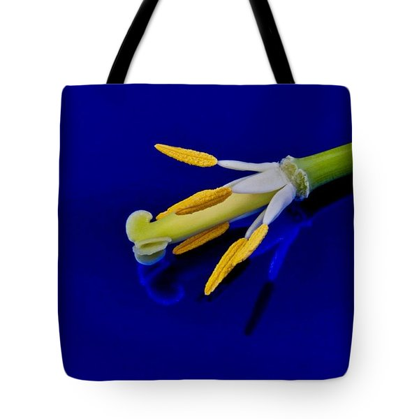 Petal-less Flower On Bright Blue Tote Bag