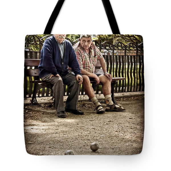 Tote Bag featuring the photograph Petanque Match / Brive La Gaillarde by Barry O Carroll