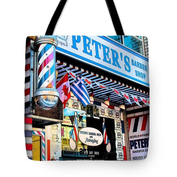 Peter's Barber Shop Circa 1961 Tote Bag by Nina Silver