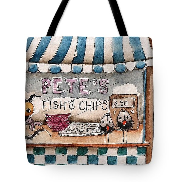 Pete's Fish And Chips Tote Bag by Lucia Stewart