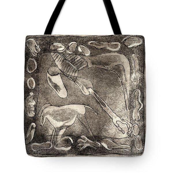 Petroglyph - Horse Takhi And Stones - Prehistoric Art - Cave Art - Rock Art - Cave Painters Tote Bag