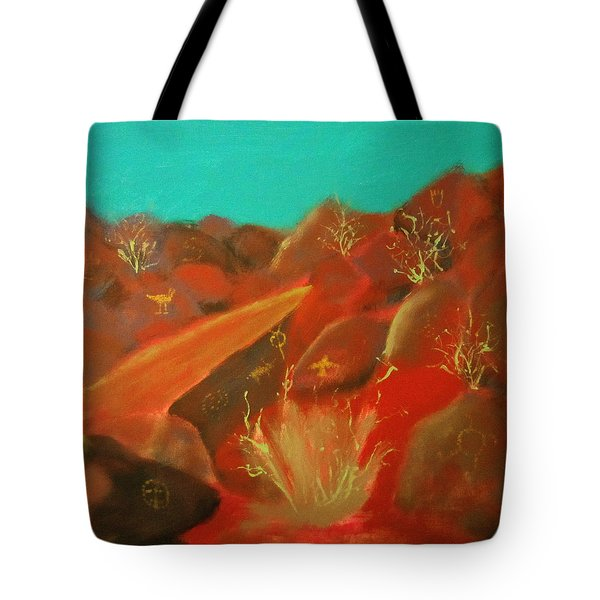 Tote Bag featuring the painting Petroglyph Park by Keith Thue