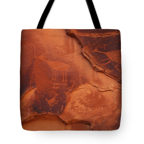 Petroglyphs On The Rocks, Monument Tote Bag