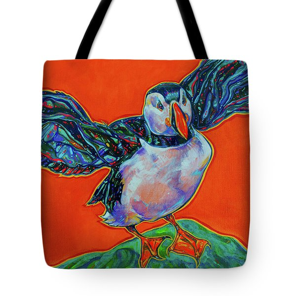 Petty Harbour Puffin Tote Bag by Derrick Higgins