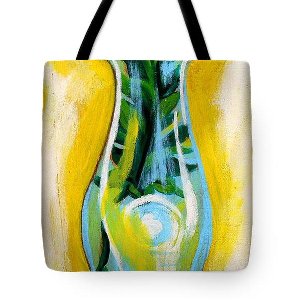 Petunia In Vase With Yellow Background Tote Bag by Genevieve Esson