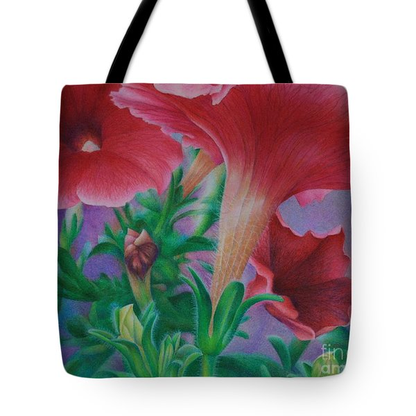 Tote Bag featuring the painting Petunia Skies by Pamela Clements