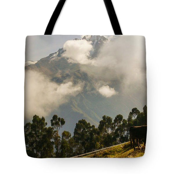 Peru Mountains With Cow Tote Bag