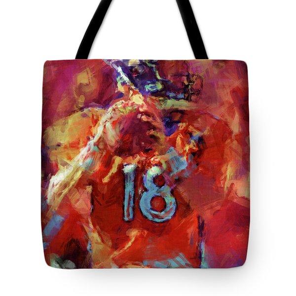 Peyton Manning Abstract 3 Tote Bag by David G Paul