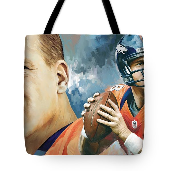 Peyton Manning Artwork Tote Bag