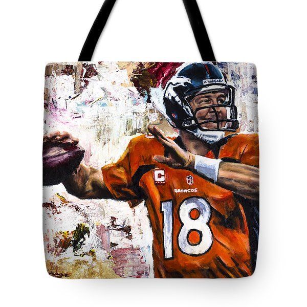 Peyton Manning Tote Bag by Mark Courage