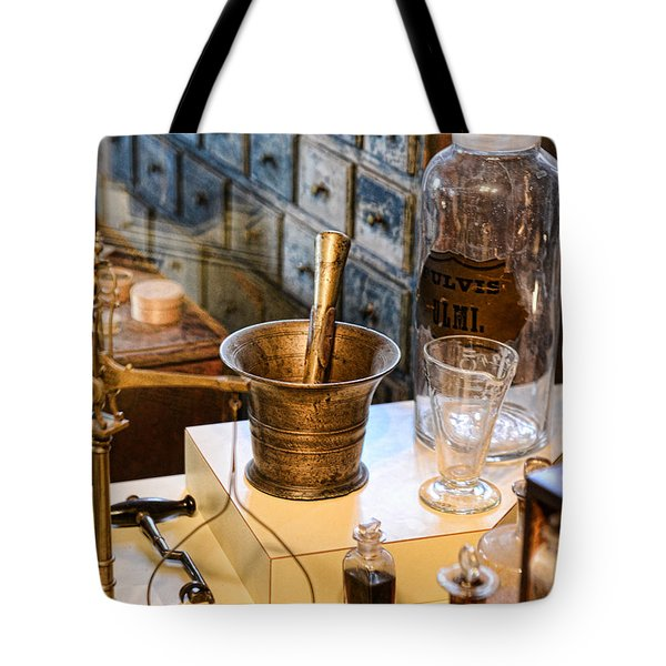 Pharmacist - Brass Mortar And Pestle Tote Bag by Paul Ward