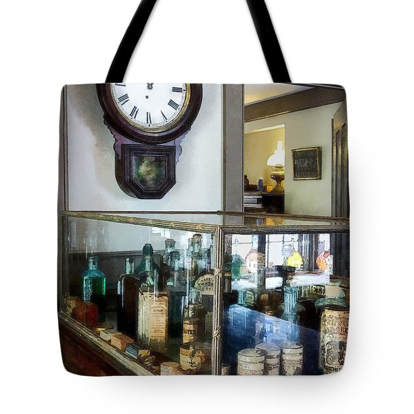 Tote Bag featuring the photograph Pharmacist - Corner Drug Store by Susan Savad