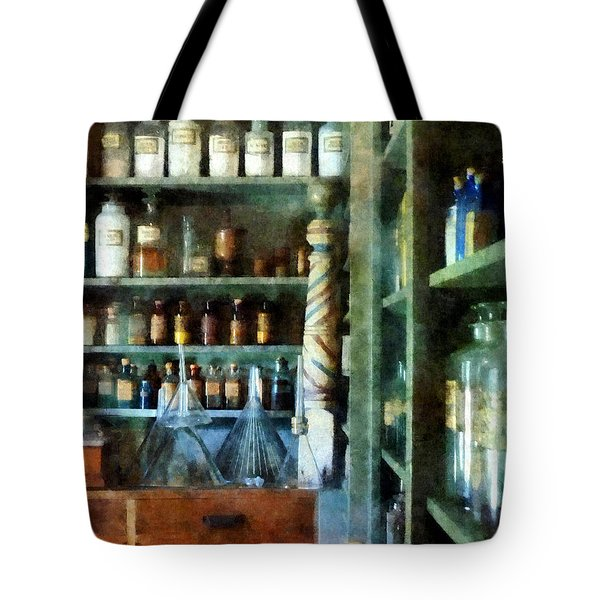 Tote Bag featuring the photograph Pharmacy - Back Room Of Drug Store by Susan Savad