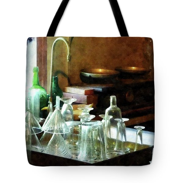 Tote Bag featuring the photograph Pharmacy - Glass Funnels And Bottles by Susan Savad