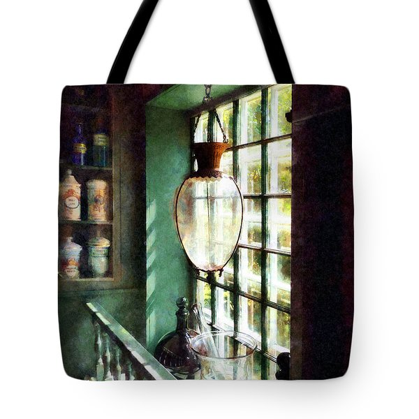 Pharmacy - Glass Mortar And Pestle On Windowsill Tote Bag by Susan Savad