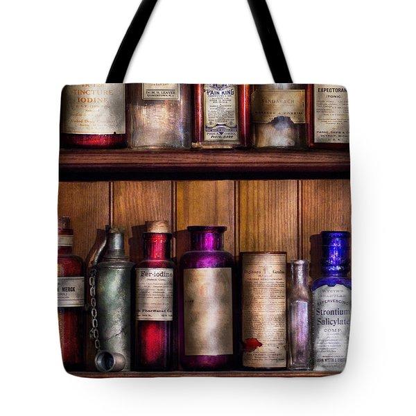 Pharmacy - Ingredients Of Medicine  Tote Bag by Mike Savad