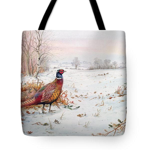 Pheasant And Bramblefinch In The Snow Tote Bag by Carl Donner