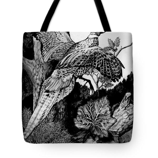 Pheasant In Flight Tote Bag