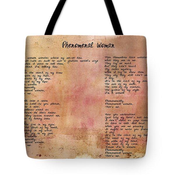 Phenomenal Woman - Red Rustic Tote Bag