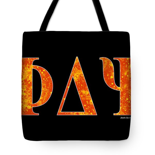 Tote Bag featuring the digital art Phi Delta Psi - Black by Stephen Younts