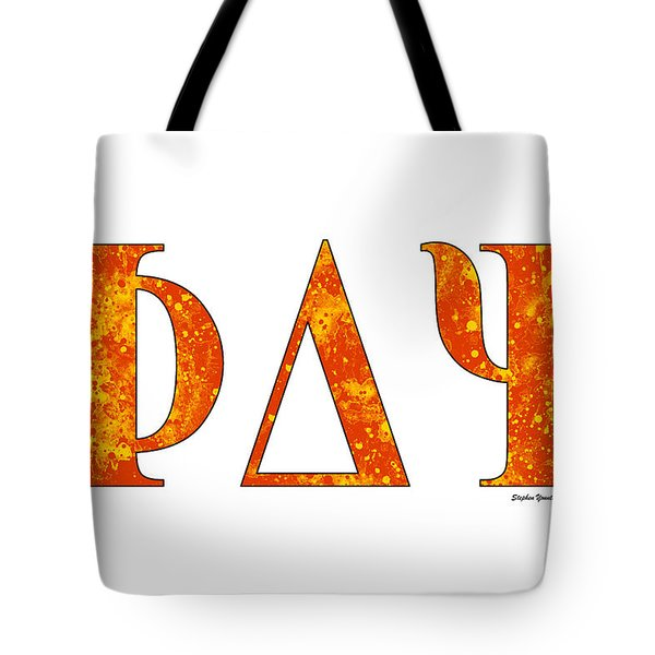 Tote Bag featuring the digital art Phi Delta Psi - White by Stephen Younts