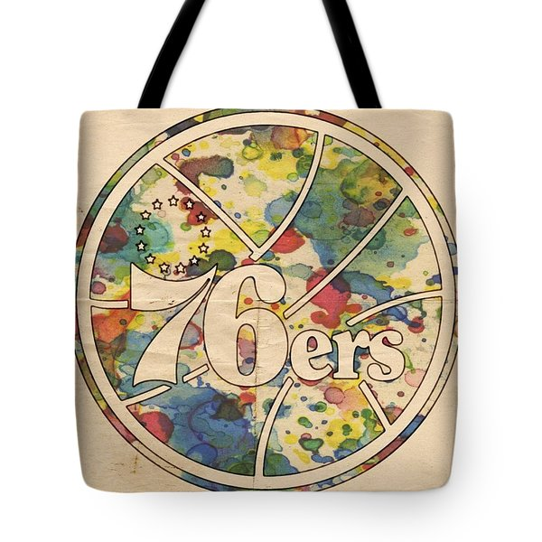 Tote Bag featuring the painting Philadelphia 76ers Retro Poster by Florian Rodarte
