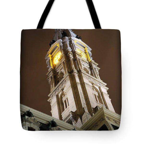 Philadelphia City Hall Clock Tower At Night Tote Bag