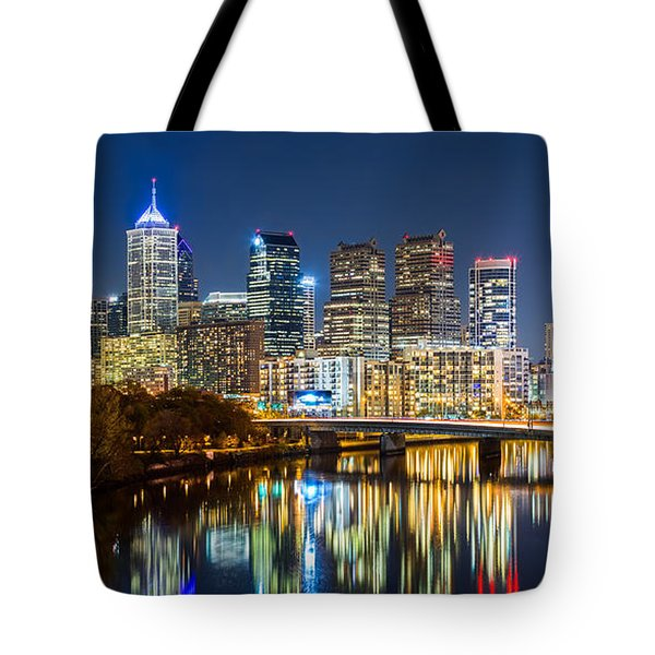 Tote Bag featuring the photograph Philadelphia Cityscape Panorama By Night by Mihai Andritoiu