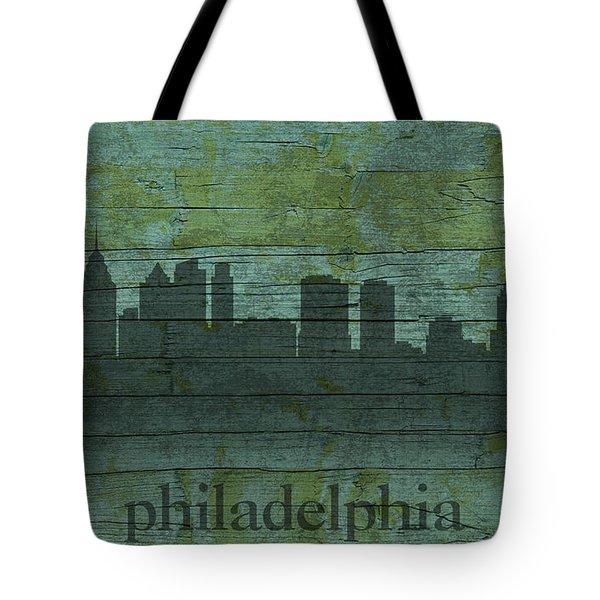 Philadelphia Pennsylvania Skyline Art On Distressed Wood Boards Tote Bag by Design Turnpike