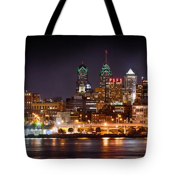 Philadelphia Philly Skyline At Night From East Color Tote Bag by Jon Holiday
